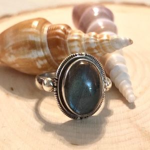 Jewelry - STERLING SILVER RING WITH OVAL SHAPED LABRADORITE